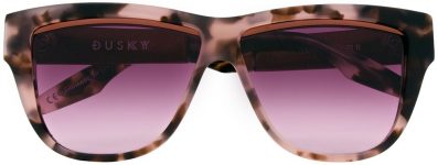 dusky, playful cat eye, polished metal trim, silhouette