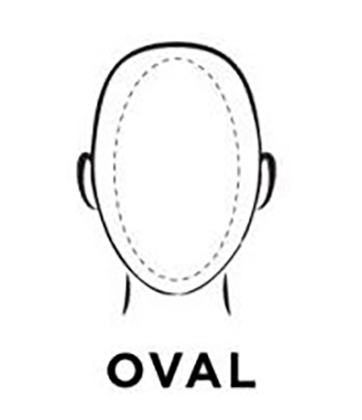 Graphic demonstration of an oval face shape