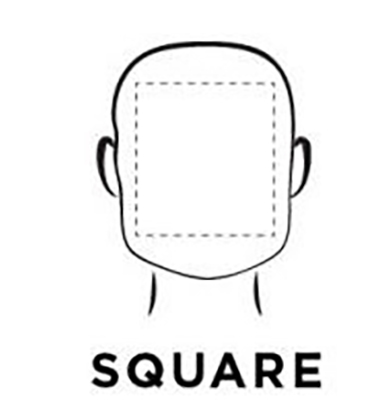 Graphic demonstration of a square face shape