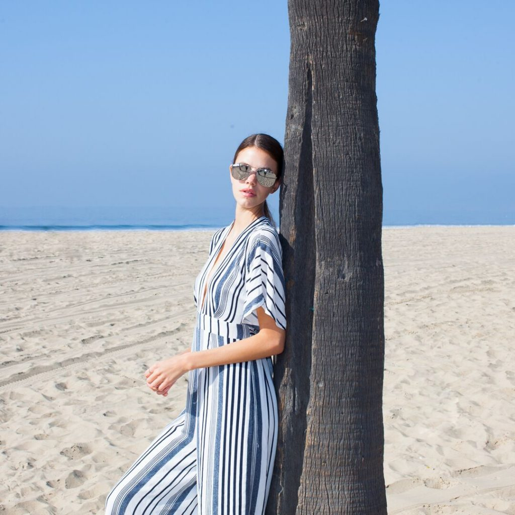 Women at the beach wearing sunglasses