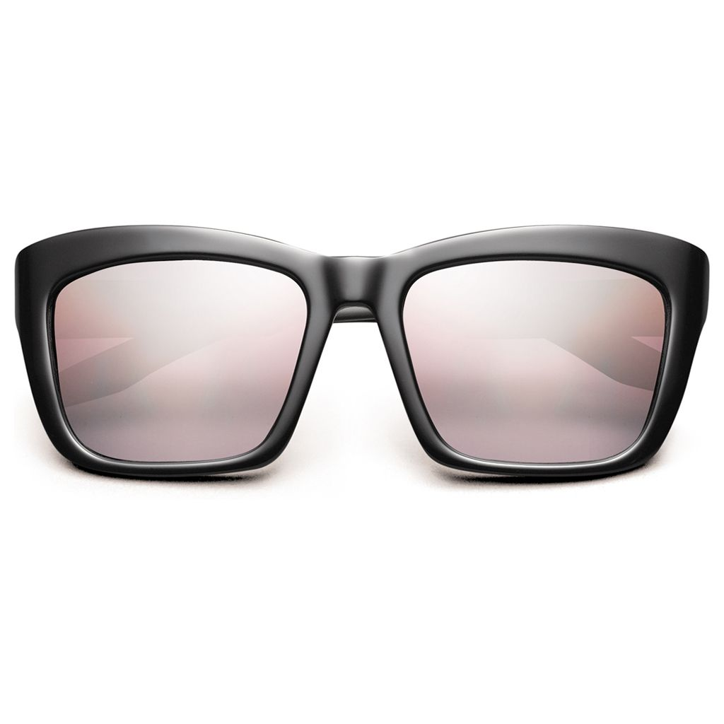 Shades with rose-colored lens and black frames