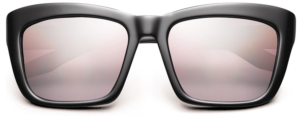 cat eye shape, black frames, pink lenses