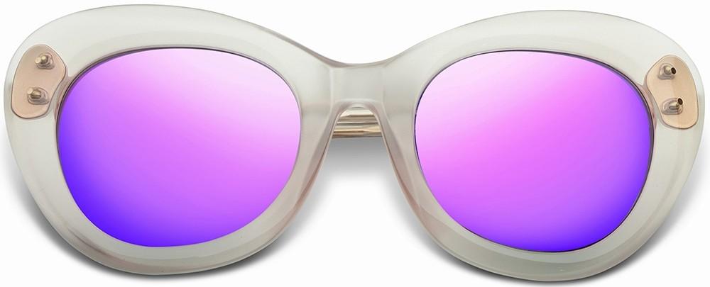 round sunglasses, white, purple tinted lenses, polarized, cat eye