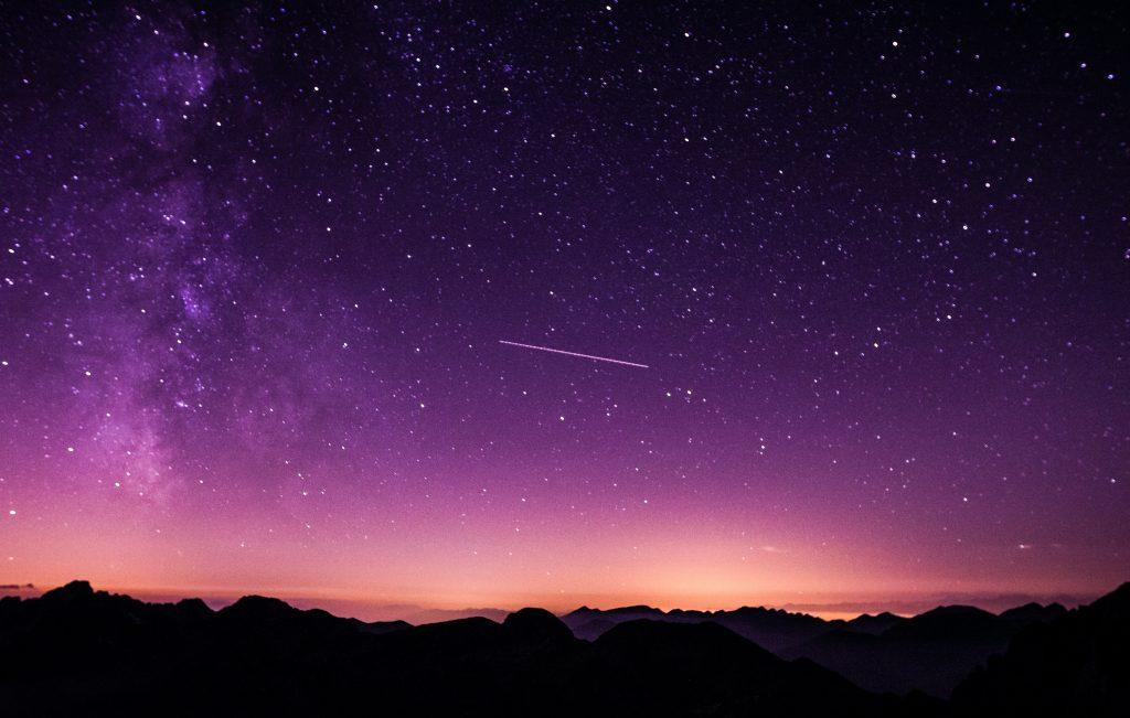 galaxy, sky, purple, stars, mountains