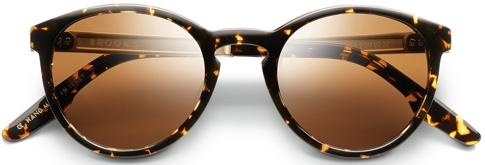 Round sunglasses Brookes with tortoise colored frame and green lens