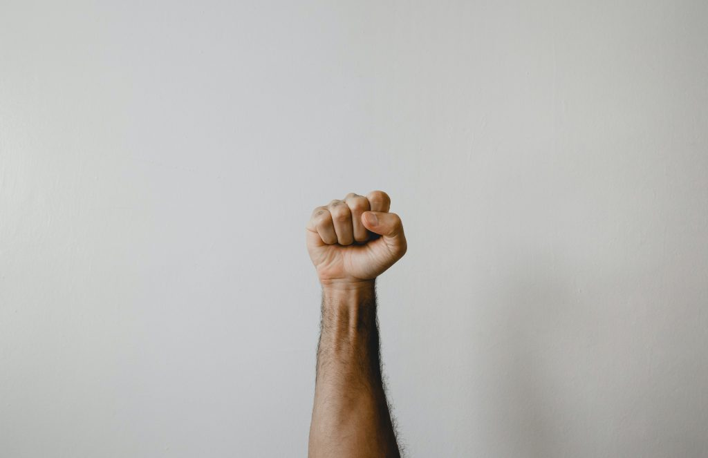 Fist up to show power