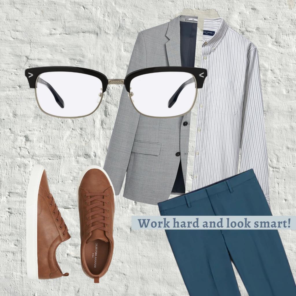 eyeglasses, vest, dress shirt, brown shoes, and blue dress pants
