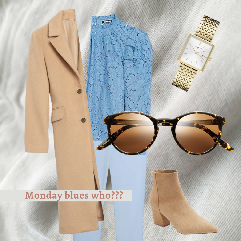 light brown coat, shirt/pant. sunglasses, brown boats, and gold watch