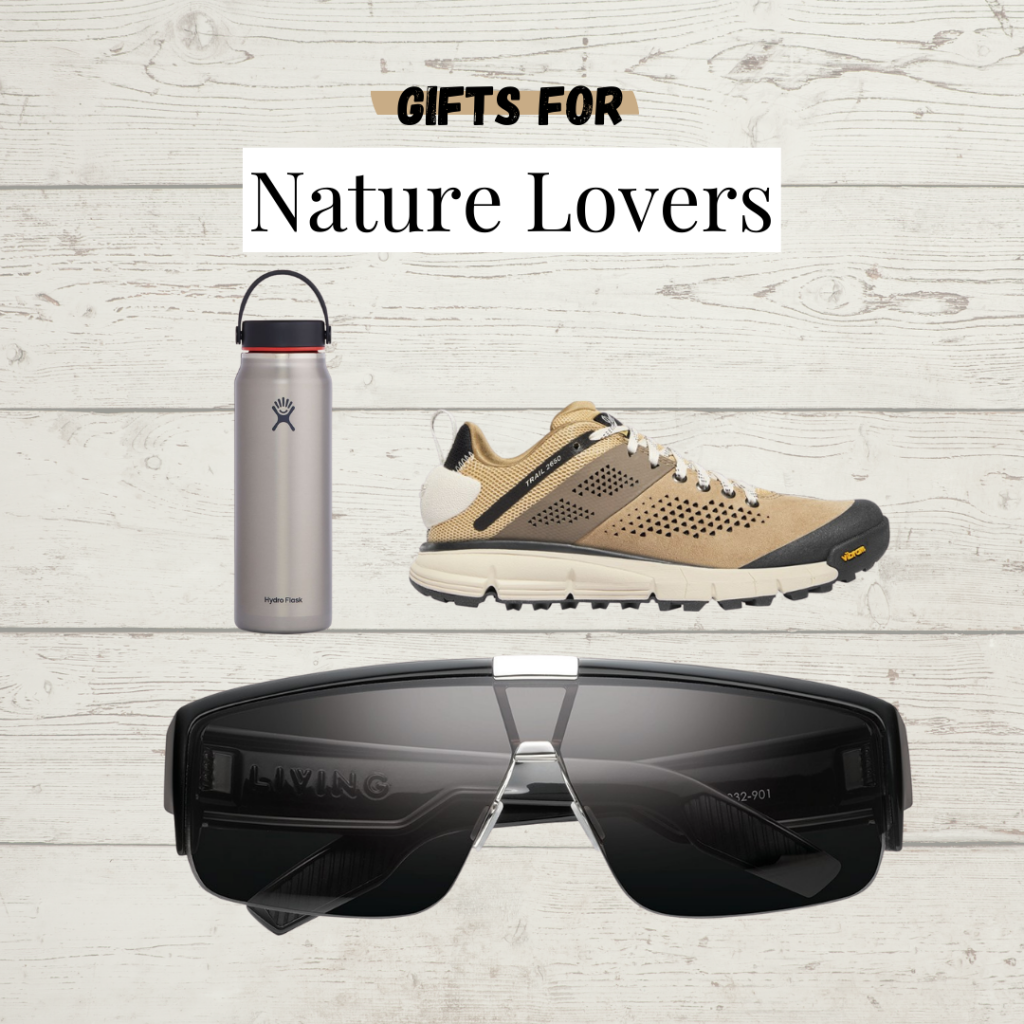 Gift ideas for nature lovers. Water bottle, hiking shoes, and sunglasses.