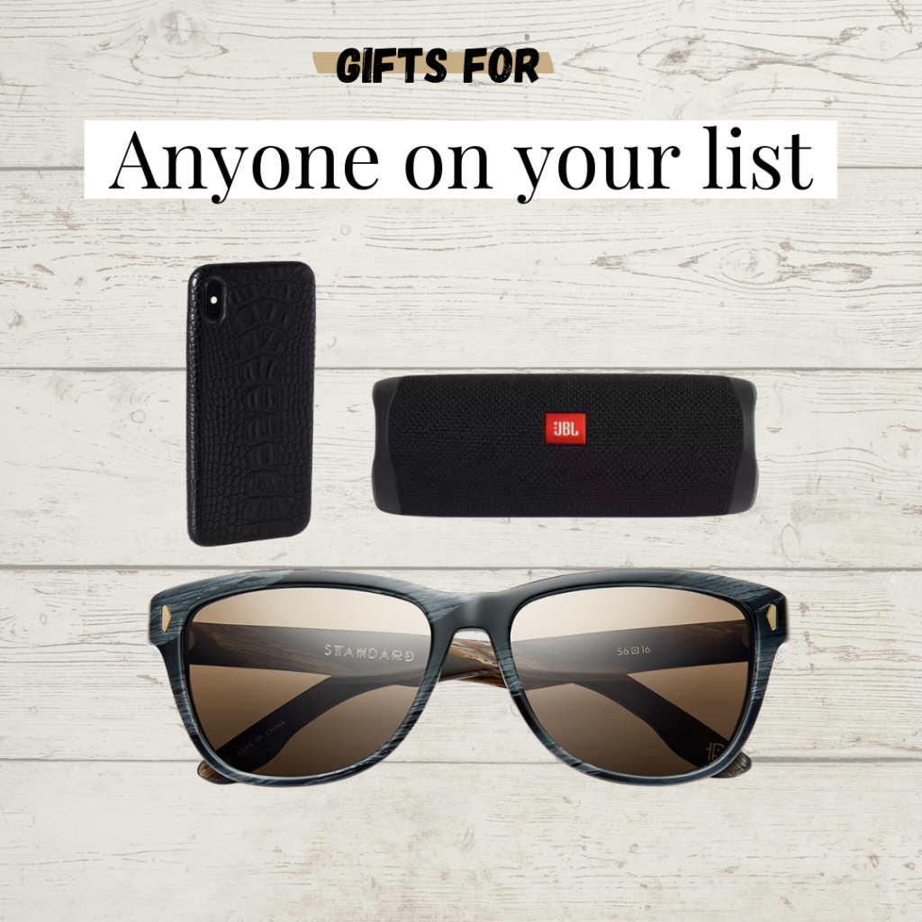 Gifts for everyone. phone case, speakers, and sunglasses.