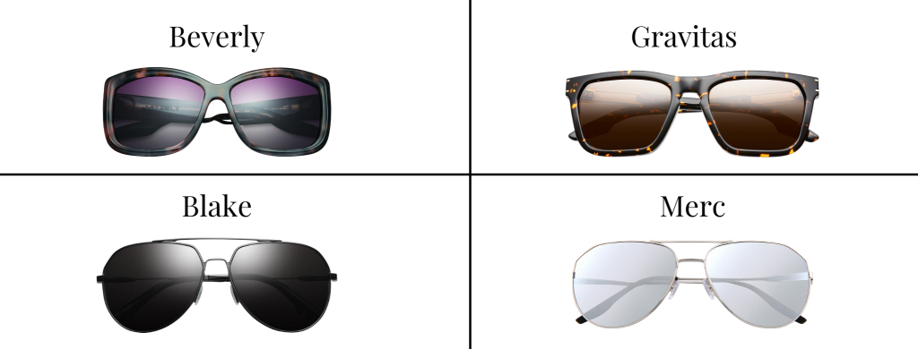 Sunglasses from IVI Vision in the styles Beverly, Gravitas, Blake, and Merc