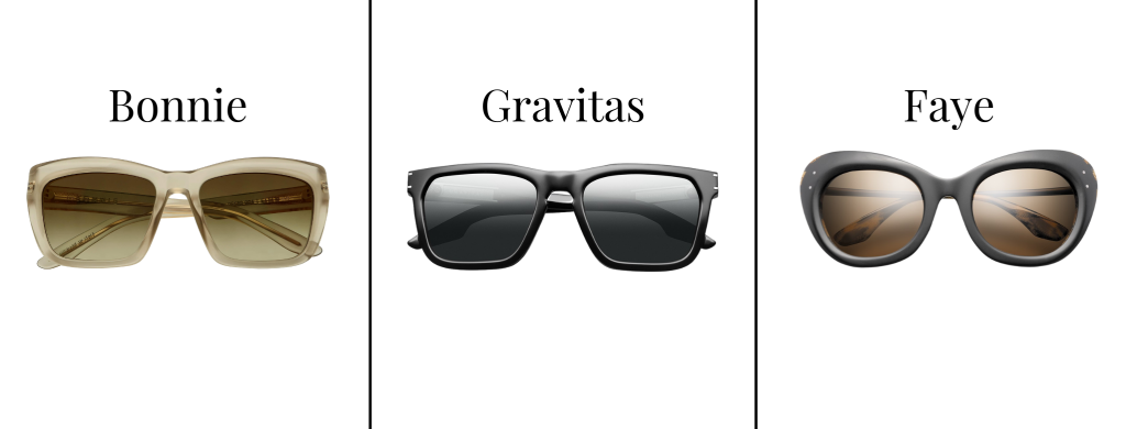 Sunglasses from IVI Vision in the styles Bonnie, Gravitas, and Faye