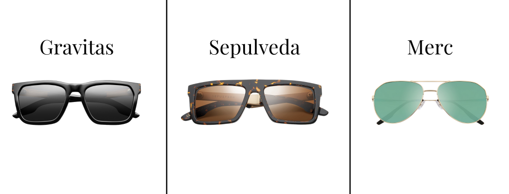 Sunglasses from IVI Vision in the styles Gravitas, Sepulveda, and Merc